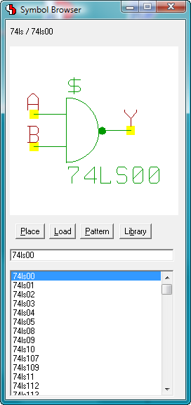 BAE Version 7.2: Schematic Editor: Symbol Browser - Modeless Dialog